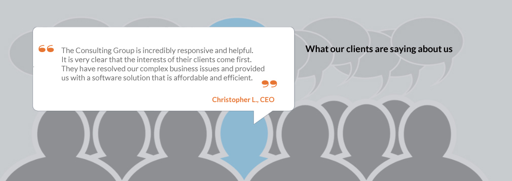 Client testimonial: The Consulting Group is incredibly responsive and helpful.  It is very clear that the interests of their clients come first.  They have resolved our complex business issues and provided us with a software solution that is affordable and efficient.  Christopher L. CEO