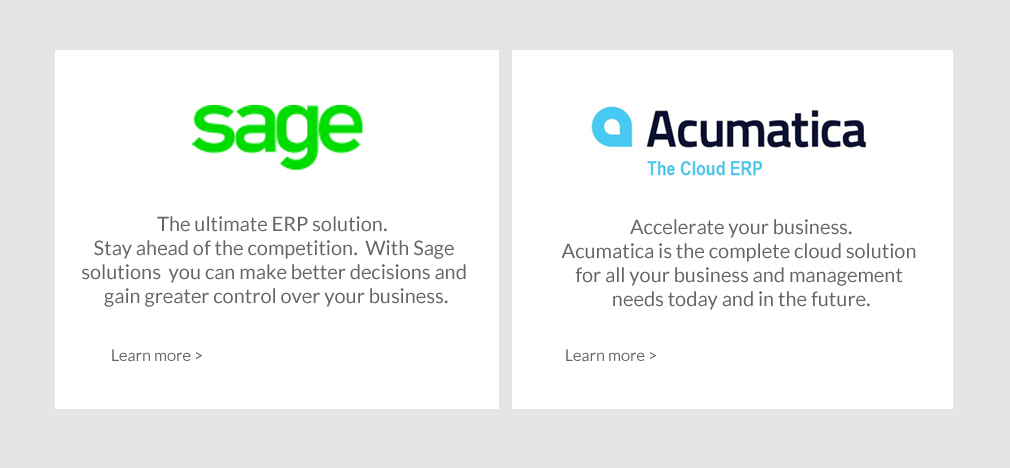Sage and Acumatica software solutions. Text reads Sage the ultimate ERP solution. Stay ahead of the competition. With Sage solutions you can make betterd ecisions and gain greater control over your business.  Acumatica - Accelerate your business.  Acumatica is the complete cloud solution for all your business and management needs today and in the future.